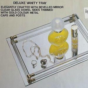 1980s vintage mirror vanity tray